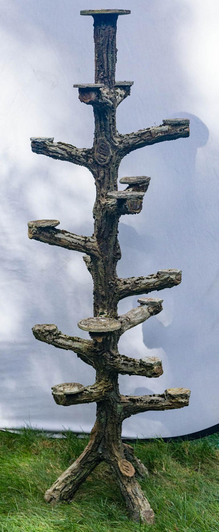 Rare faux bois plant stand, beautiful detail.