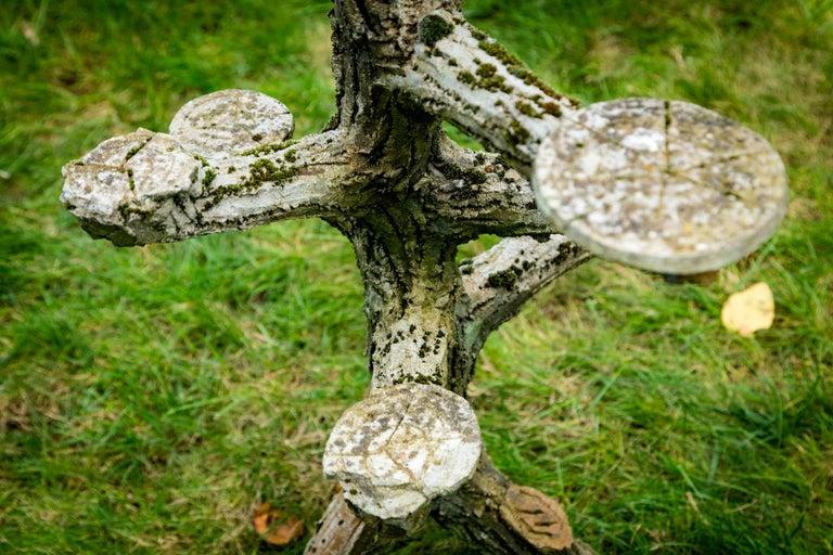 Concrete Rare Faux Bois Plant Stand For Sale