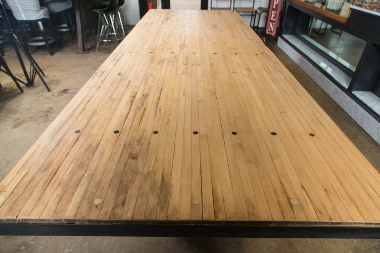 20th Century Vintage Industrial Base Bowling Alley Table For Sale