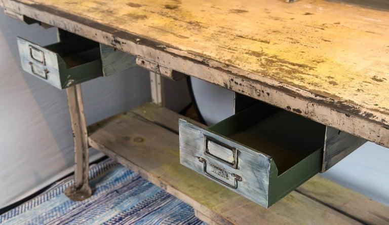 20th Century Vintage Industrial Work Desk For Sale