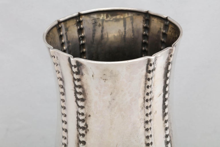 Hammered Art Deco Continental Silver '.830' Vase by David Andersen For Sale