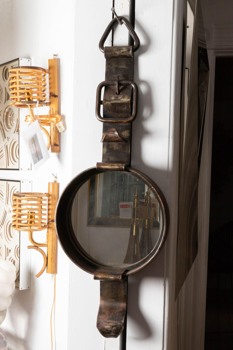 Mid-Century Modern Iron Watch-Form Mirror For Sale