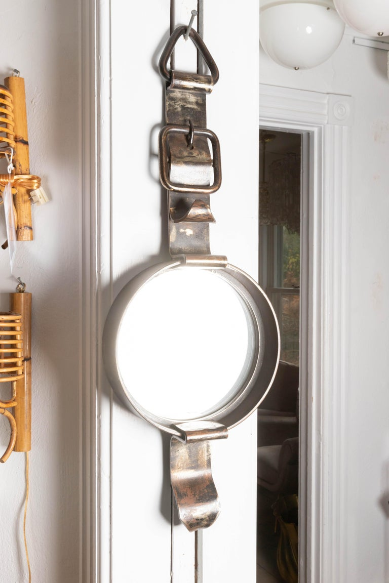 Iron Watch-Form Mirror In Excellent Condition For Sale In Bridgehampton, NY