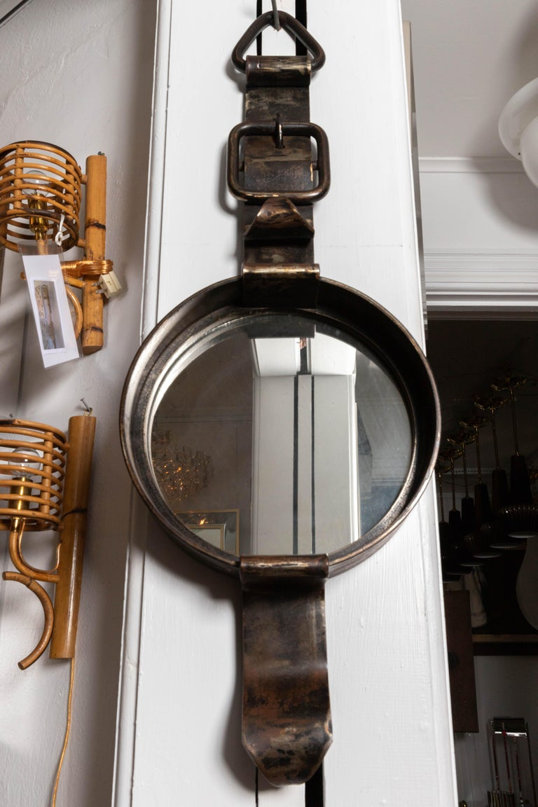 Iron Watch-Form Mirror For Sale 1