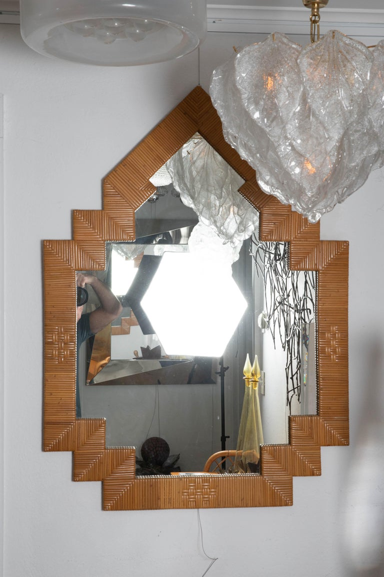 Pair of Unusual Shaped Rattan Surround Mirrors In Excellent Condition For Sale In Bridgehampton, NY
