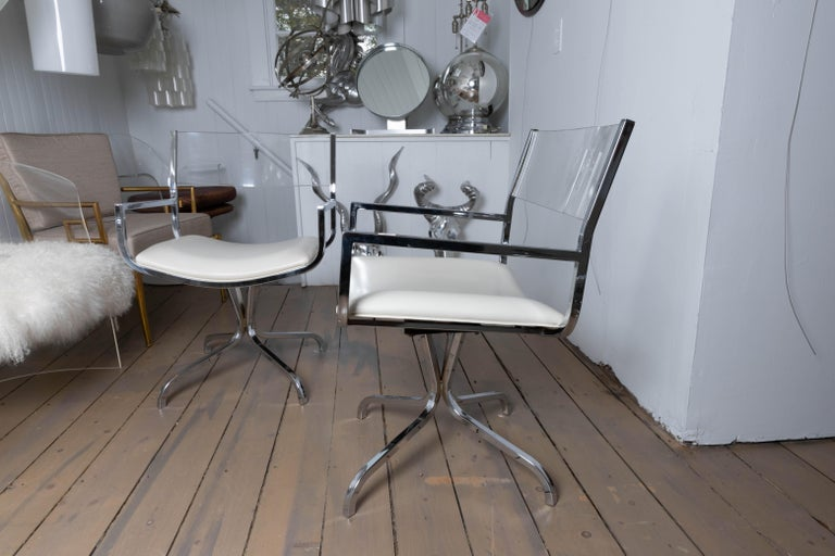 American Chrome Swivel Armchair with Lucite Back and Upholstered Leather Seat For Sale