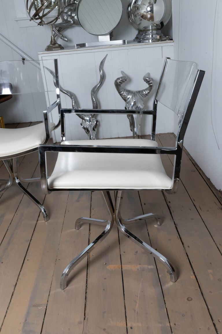 Chrome Swivel Armchair with Lucite Back and Upholstered Leather Seat In Excellent Condition For Sale In Bridgehampton, NY