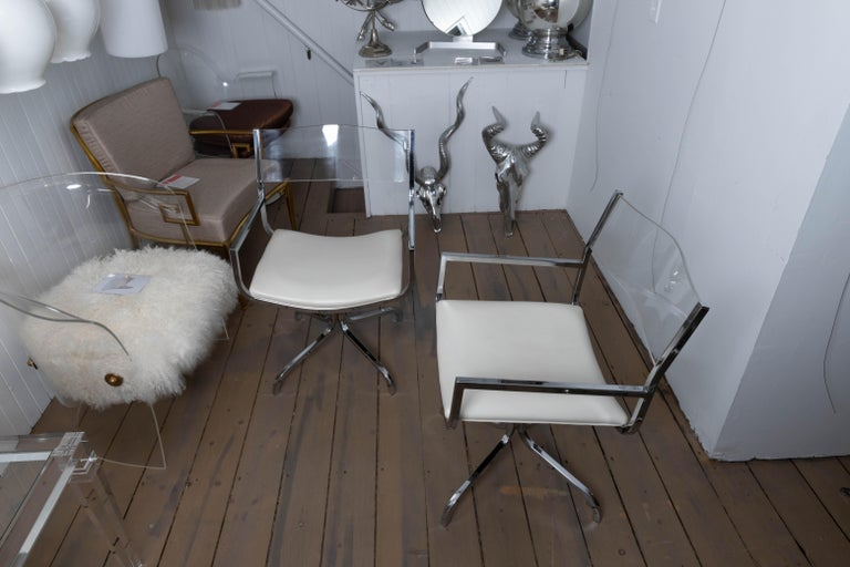 20th Century Chrome Swivel Armchair with Lucite Back and Upholstered Leather Seat For Sale