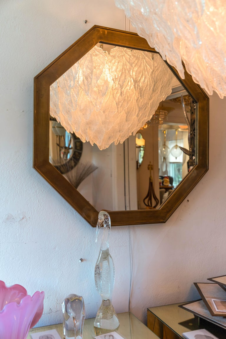 Mid-Century Modern Octagonal Patinated Surround Mirror, by Mastercraft For Sale