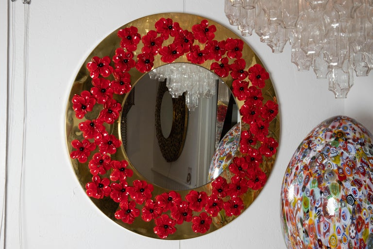 Modern Circular Brass Mirror with Murano Glass Flowers For Sale