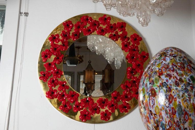 Italian Circular Brass Mirror with Murano Glass Flowers For Sale