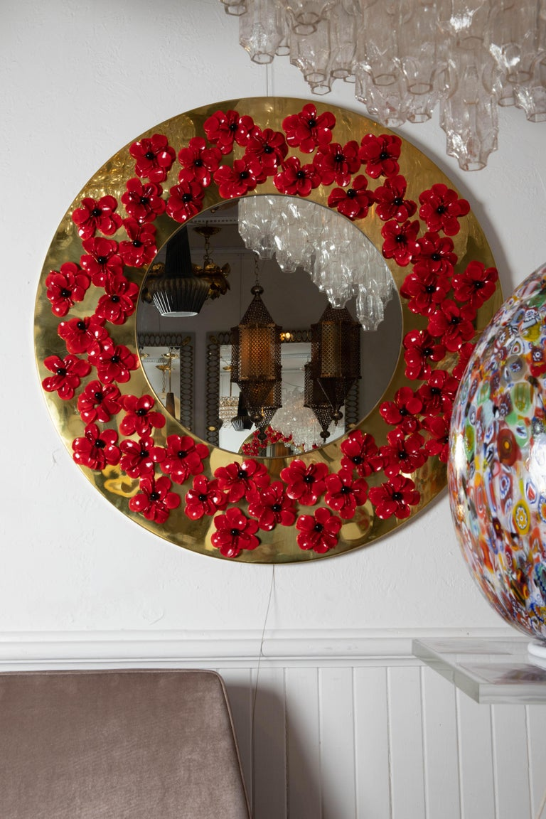 Circular Brass Mirror with Murano Glass Flowers In Good Condition For Sale In Bridgehampton, NY