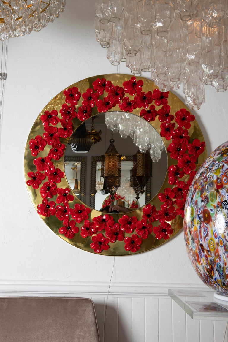 20th Century Circular Brass Mirror with Murano Glass Flowers For Sale