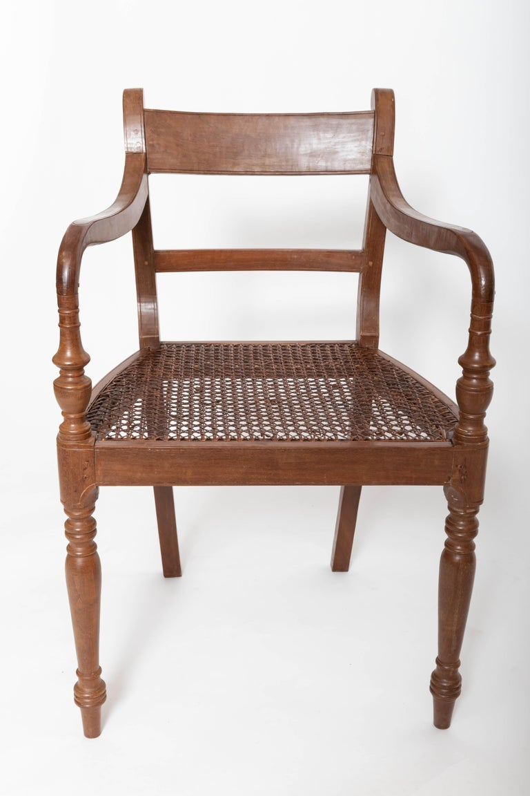 Sri Lankan Set of Six 19th Century British Colonial Satinwood Armchairs For Sale