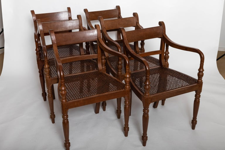 Set of Six 19th Century British Colonial Satinwood Armchairs For Sale 4