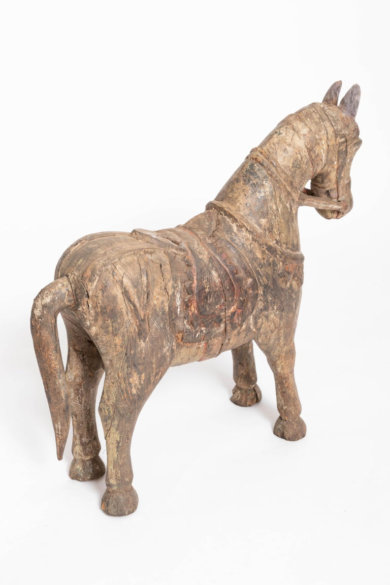 19th Century Carved Teak Horse For Sale 1