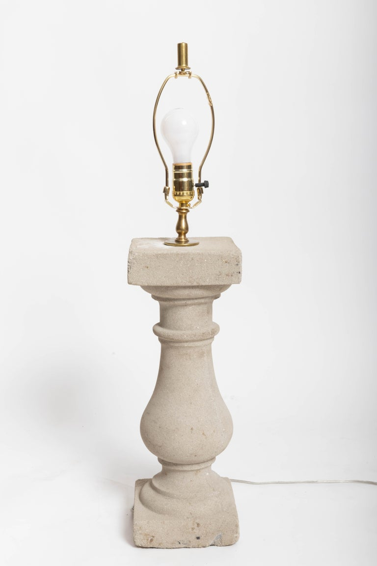 Stone Balustrade Lamp In Good Condition For Sale In East Hampton, NY