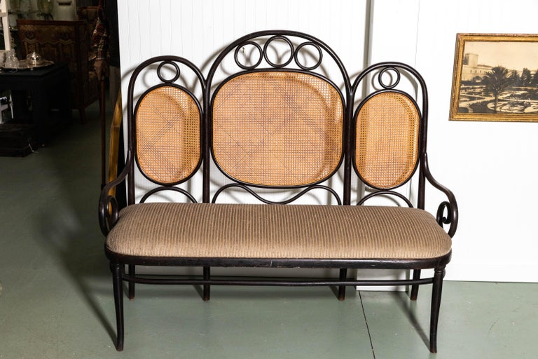Curvilinear caned back with upholstered seat. Beautiful lines and original finish.
