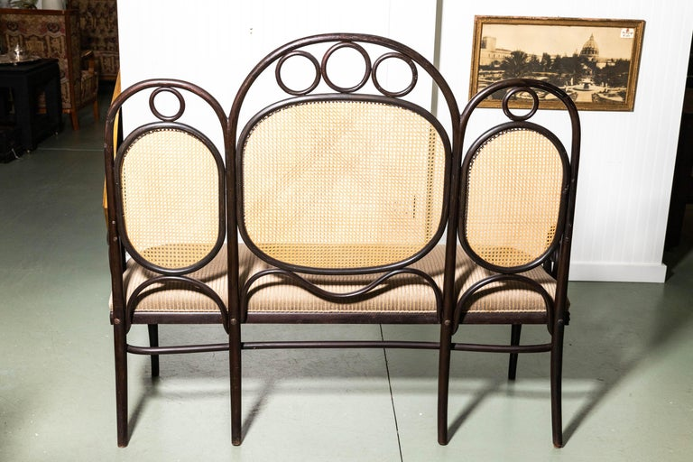 Cane Thonet Bench by Gebruder Thonet For Sale