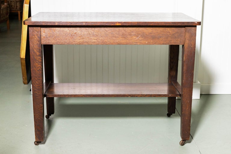Antique Mission Writing Table by Cadillac Cabinet Company In Good Condition For Sale In Southampton, NY