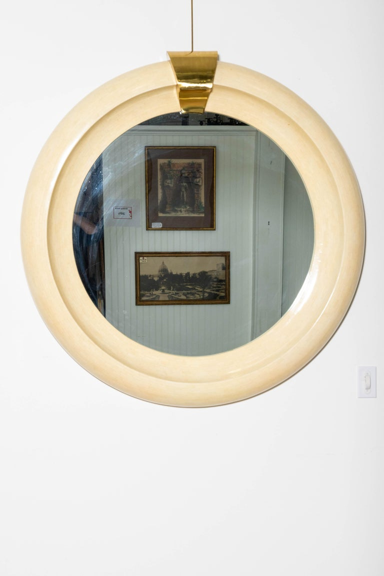 Tessellated bone and brass round mirror. Crown with paper label. In the style of Karl Springer.