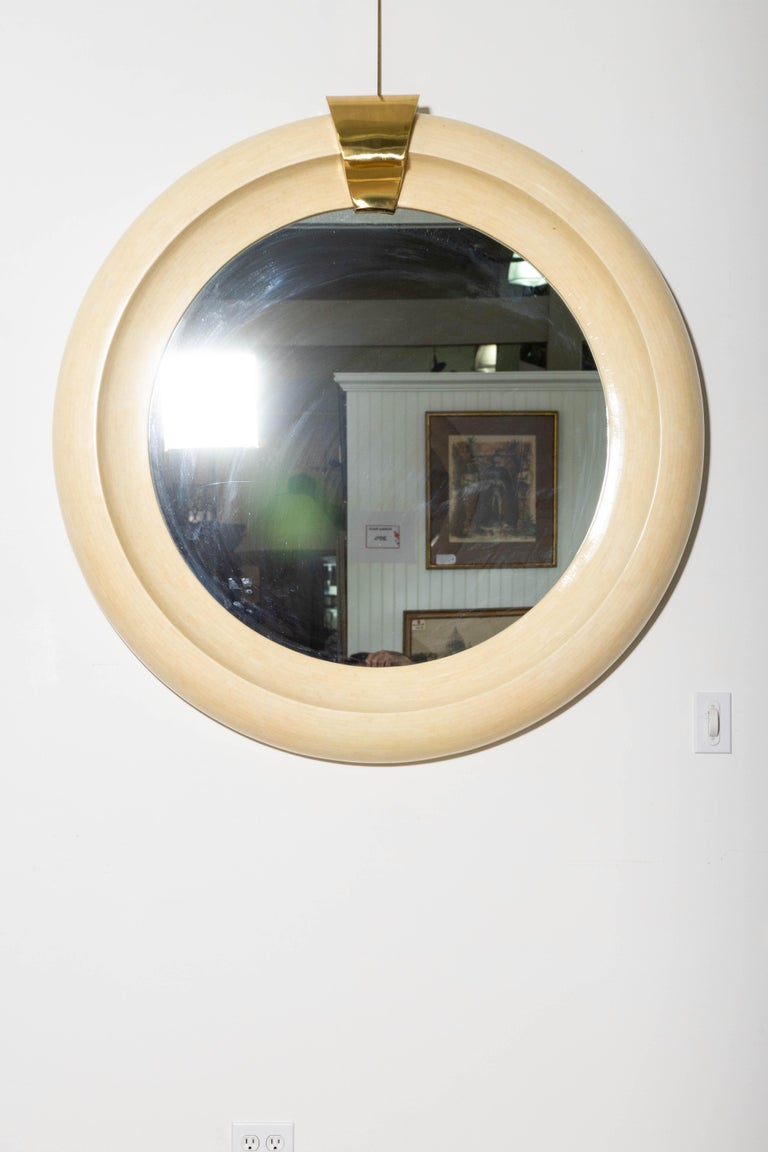 Art Deco Oversized Round Mirror Tessellated Bone and Brass For Sale