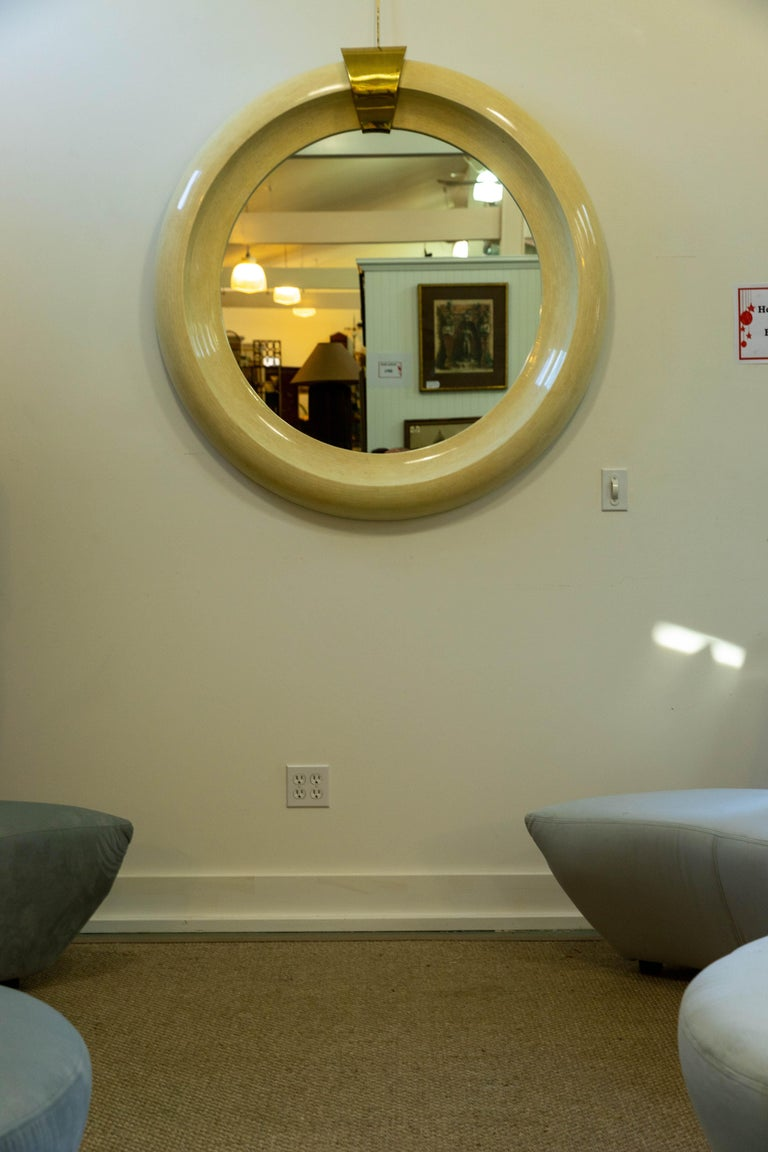 Oversized Round Mirror Tessellated Bone and Brass In Good Condition For Sale In Southampton, NY
