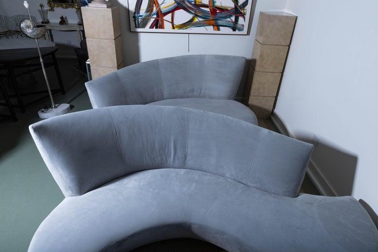Ultrasuede Pair of Vladimir Kagan Bilbao Serpentine Sofas For Sale