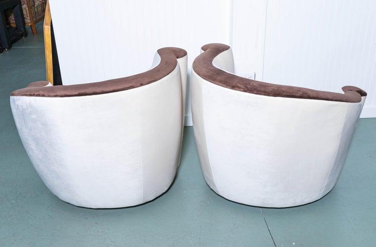 Ultrasuede Pair of Midcentury Vladimir Kagan Nautilus Swivel Chairs For Sale