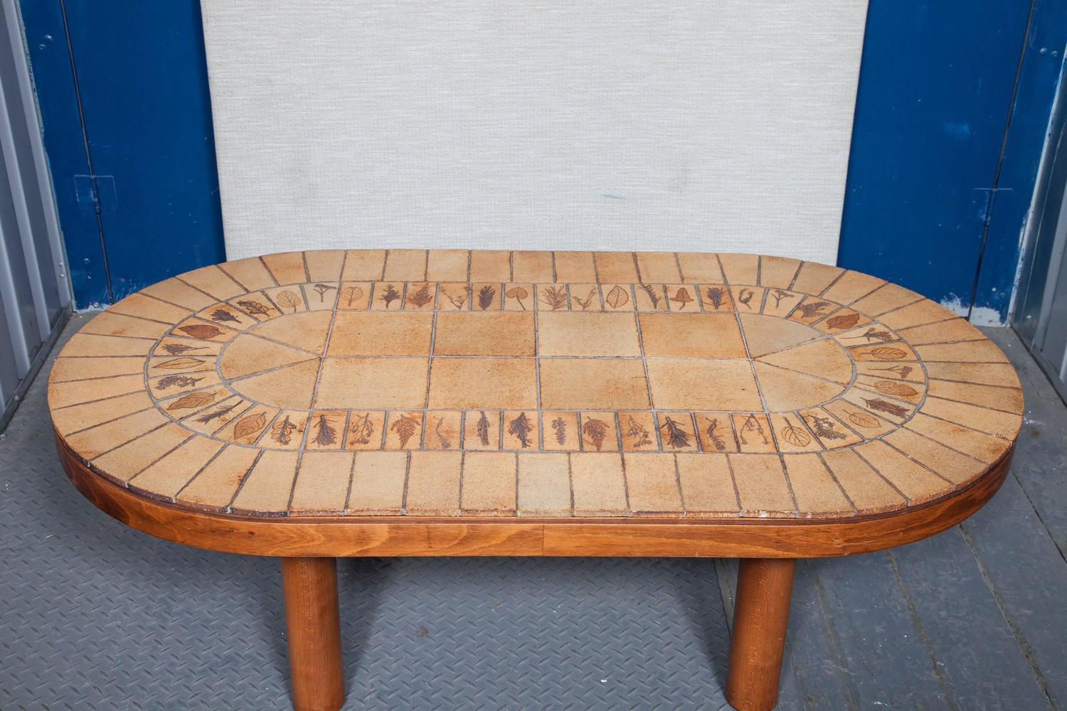 Oval tile top coffee table by roger capron for sale at 1stdibs for Tile top coffee table