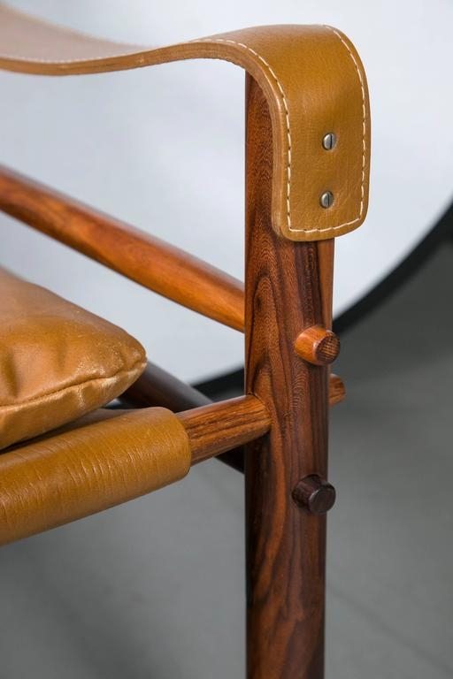 Swedish Arne Norell Rosewood and Leather Safari Chair