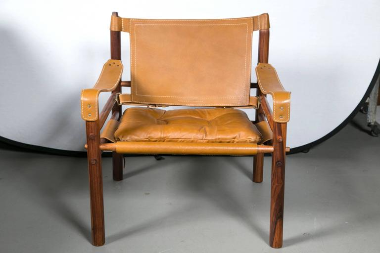 Arne Norell Rosewood and Leather Safari Chair In Excellent Condition In Stamford, CT