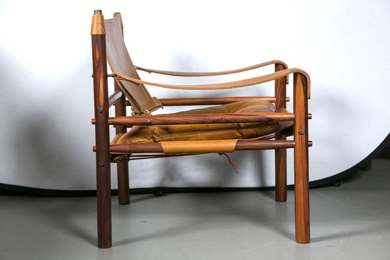 Mid-20th Century Arne Norell Rosewood and Leather Safari Chair