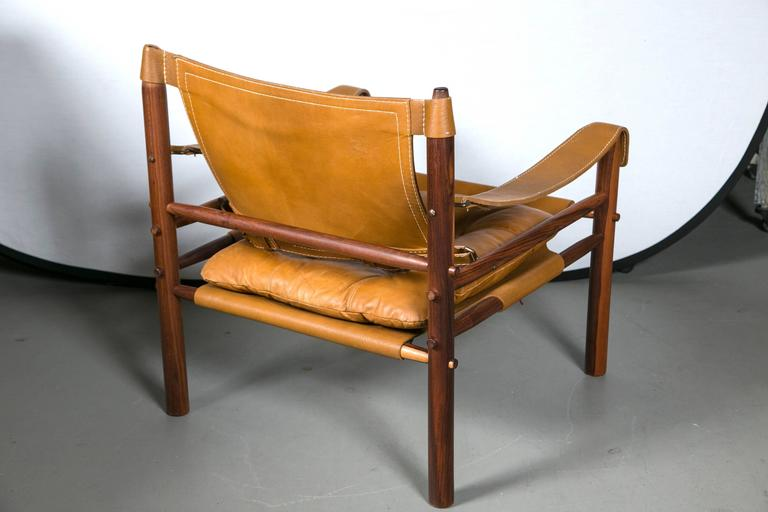 Arne Norell Rosewood and Leather Safari Chair 1