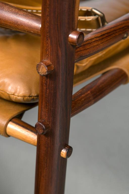 Arne Norell Rosewood and Leather Safari Chair 2