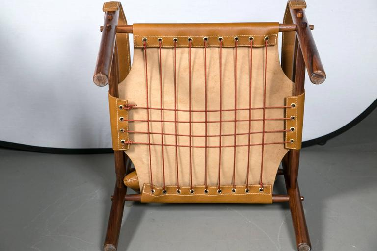 Arne Norell Rosewood and Leather Safari Chair 3