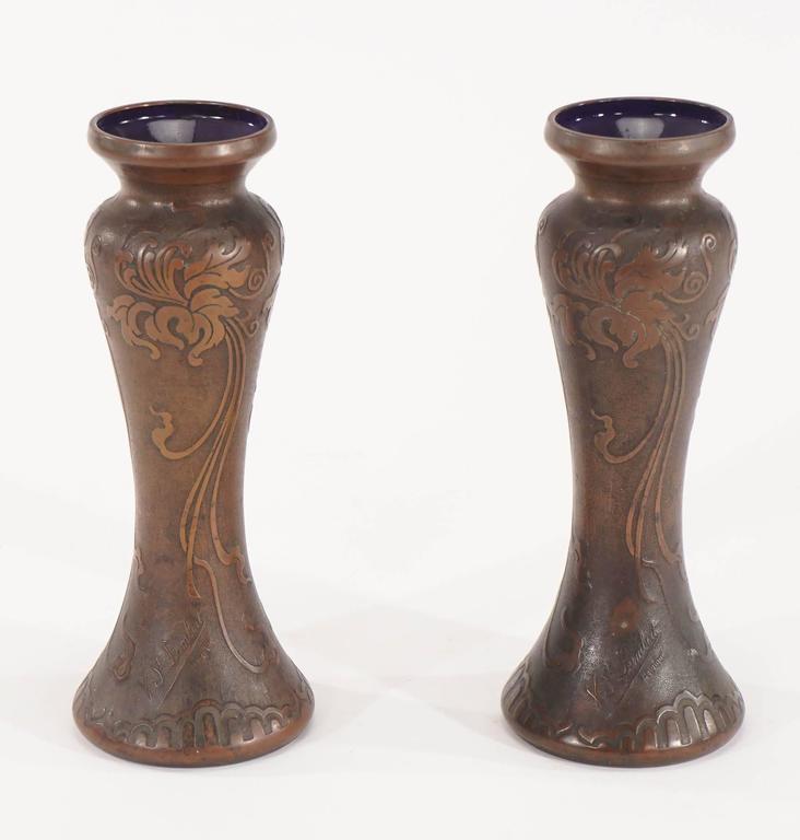 Belgian Pair of Signed Val Saint Lambert Amethyst Art Nouveau Vases with Bronze Patina  For Sale