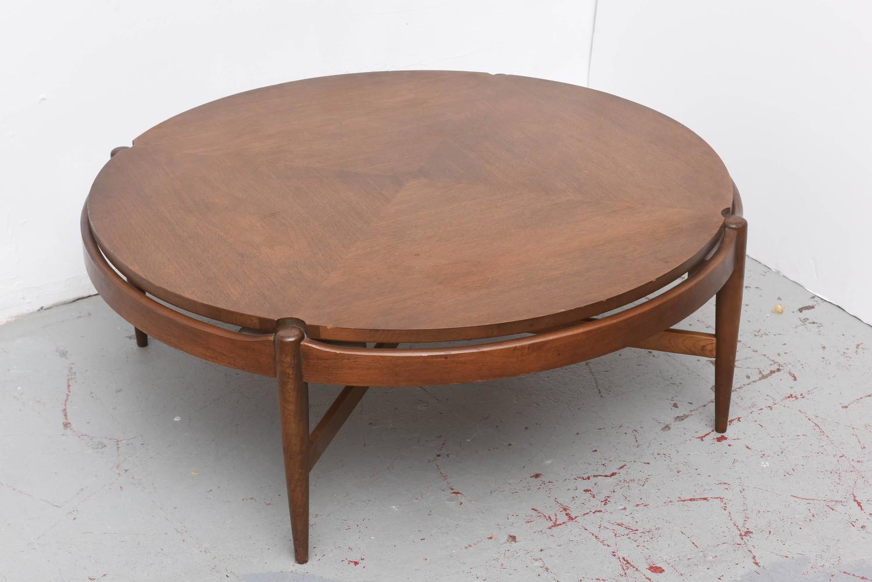 Round Walnut Bassett Coffee Table 1960s Usa At 1stdibs