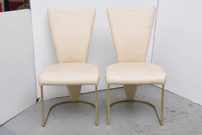 Wonderful form on these DIA Brass chairs.  Chairs need polishing or replating and reupholstery, but they are structurally very sound.  USA 1980s  Our guys can do the plating for a fee to make them as new.
