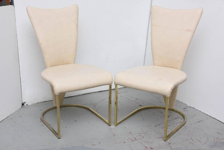 Design Institute of America Post-Mod Brass Dining Chairs, Set of Four, 1980s In Good Condition In Miami, FL