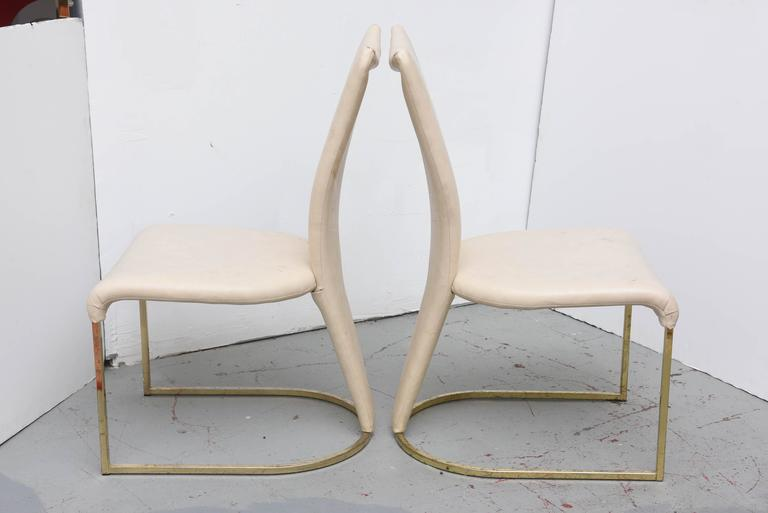 Late 20th Century Design Institute of America Post-Mod Brass Dining Chairs, Set of Four, 1980s
