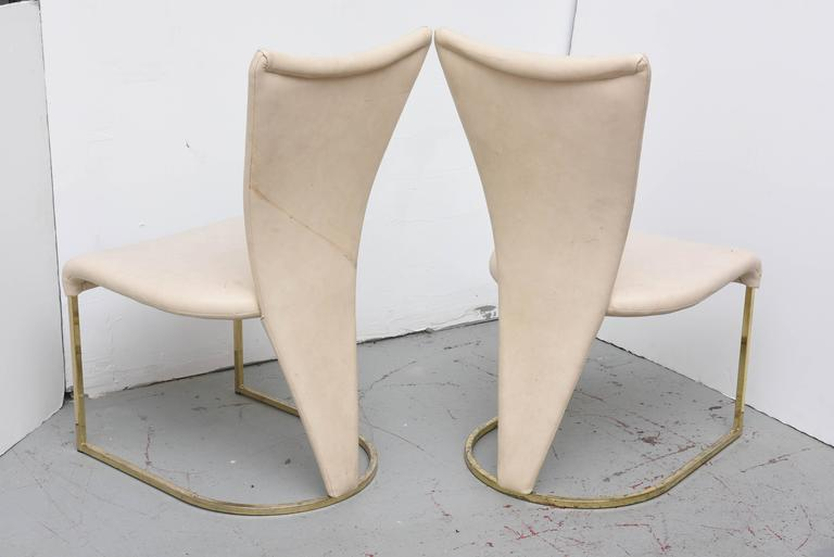 Design Institute of America Post-Mod Brass Dining Chairs, Set of Four, 1980s 1