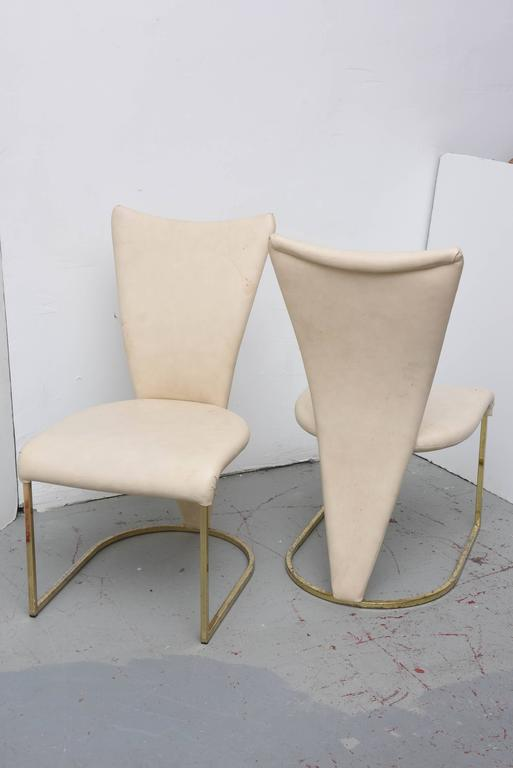 Design Institute of America Post-Mod Brass Dining Chairs, Set of Four, 1980s 3