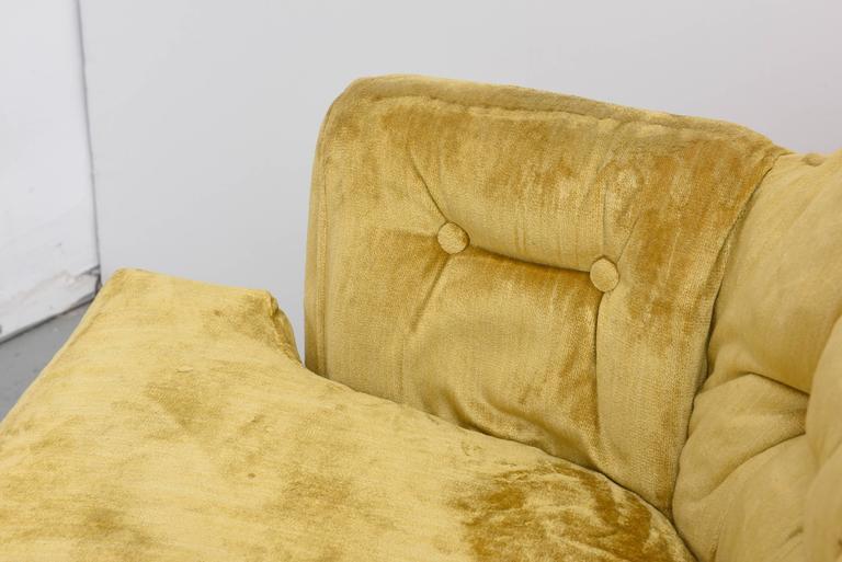 Velvet High Back Swivel Tufted Rocker/Lounge Chairs, 1960s USA For Sale