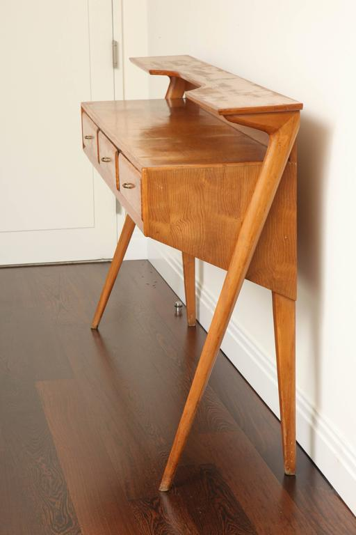 Mid-20th Century Italian Mid-Century Modern Cherrywood Console Table For Sale