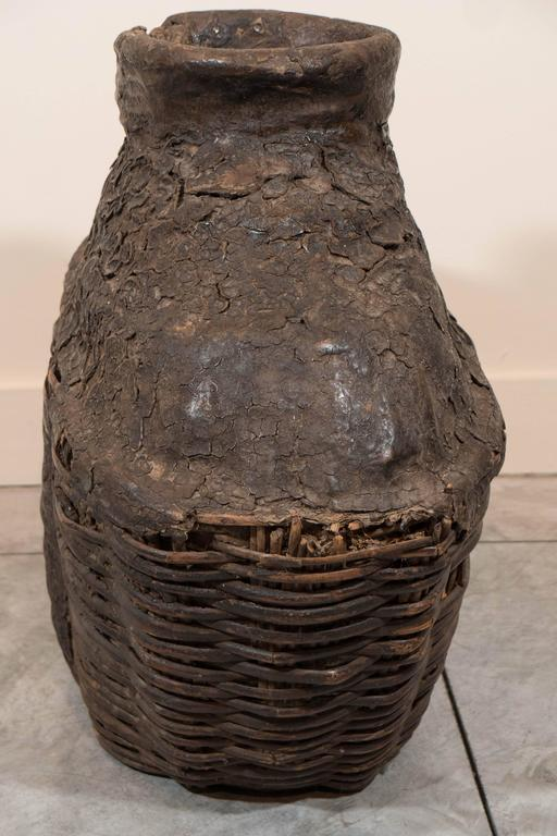 Large Antique Woven Oil Container For Sale at 1stdibs