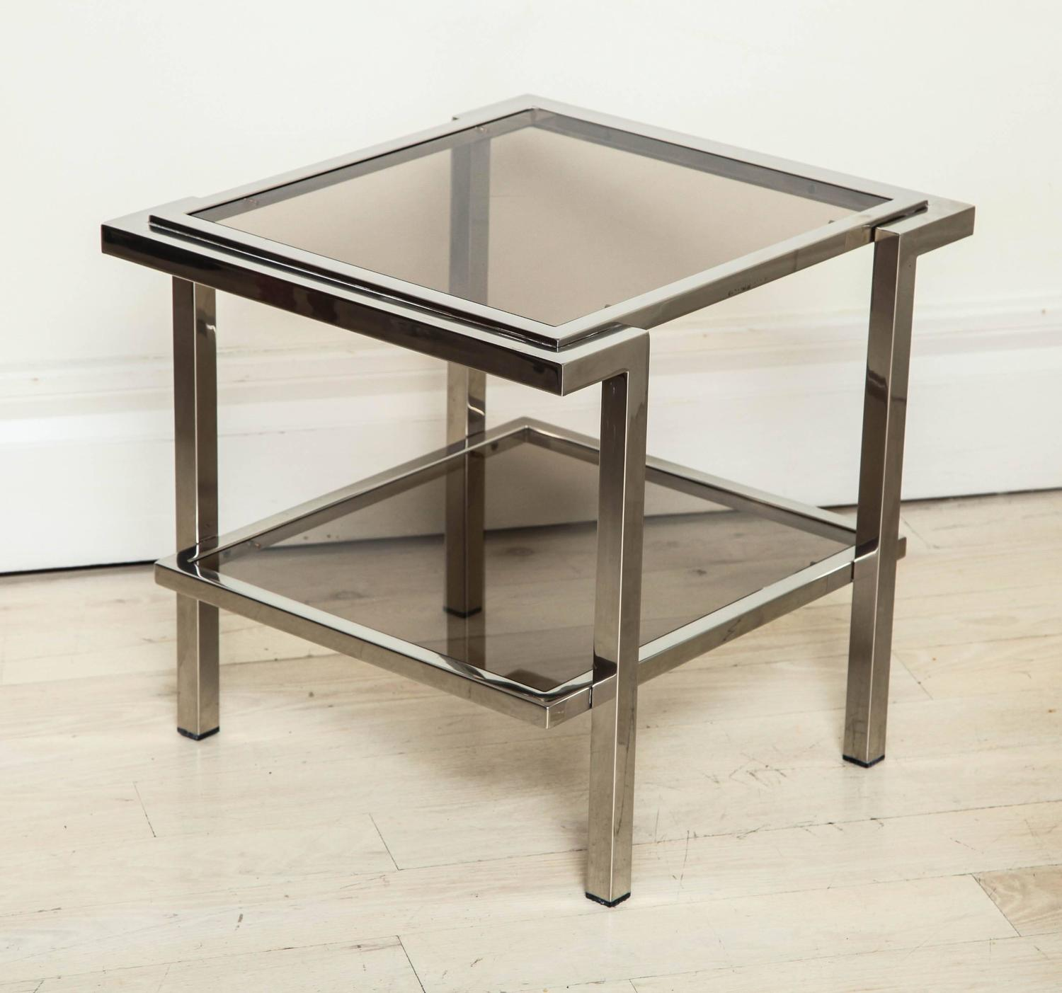 Modern Pair Of Chrome And Gray Glass Coffee Tables France Circa 1970 For Sale At 1stdibs