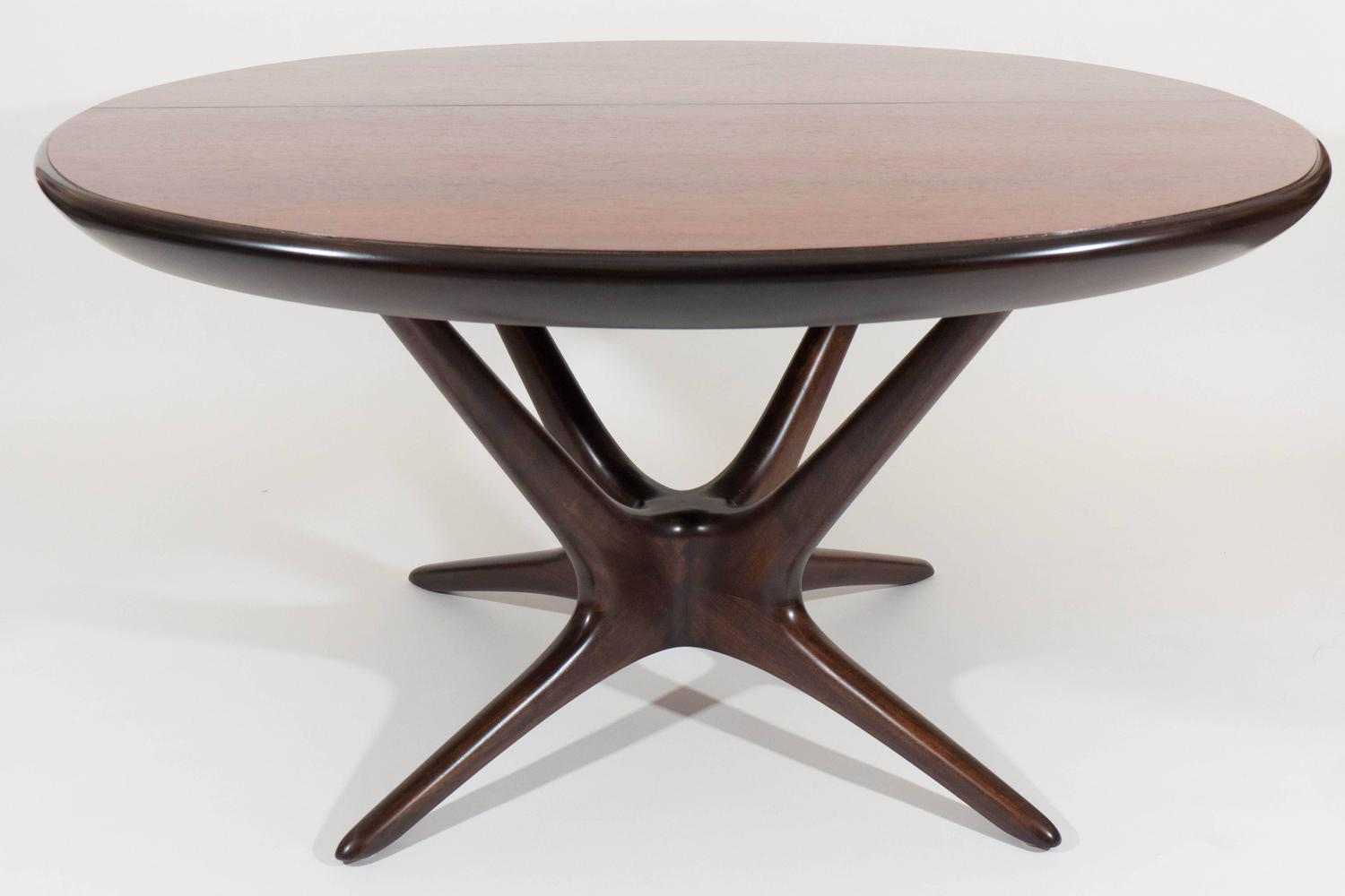 Rare and large vladimir kagan dining table with leaves at for Large kitchen tables with leaves
