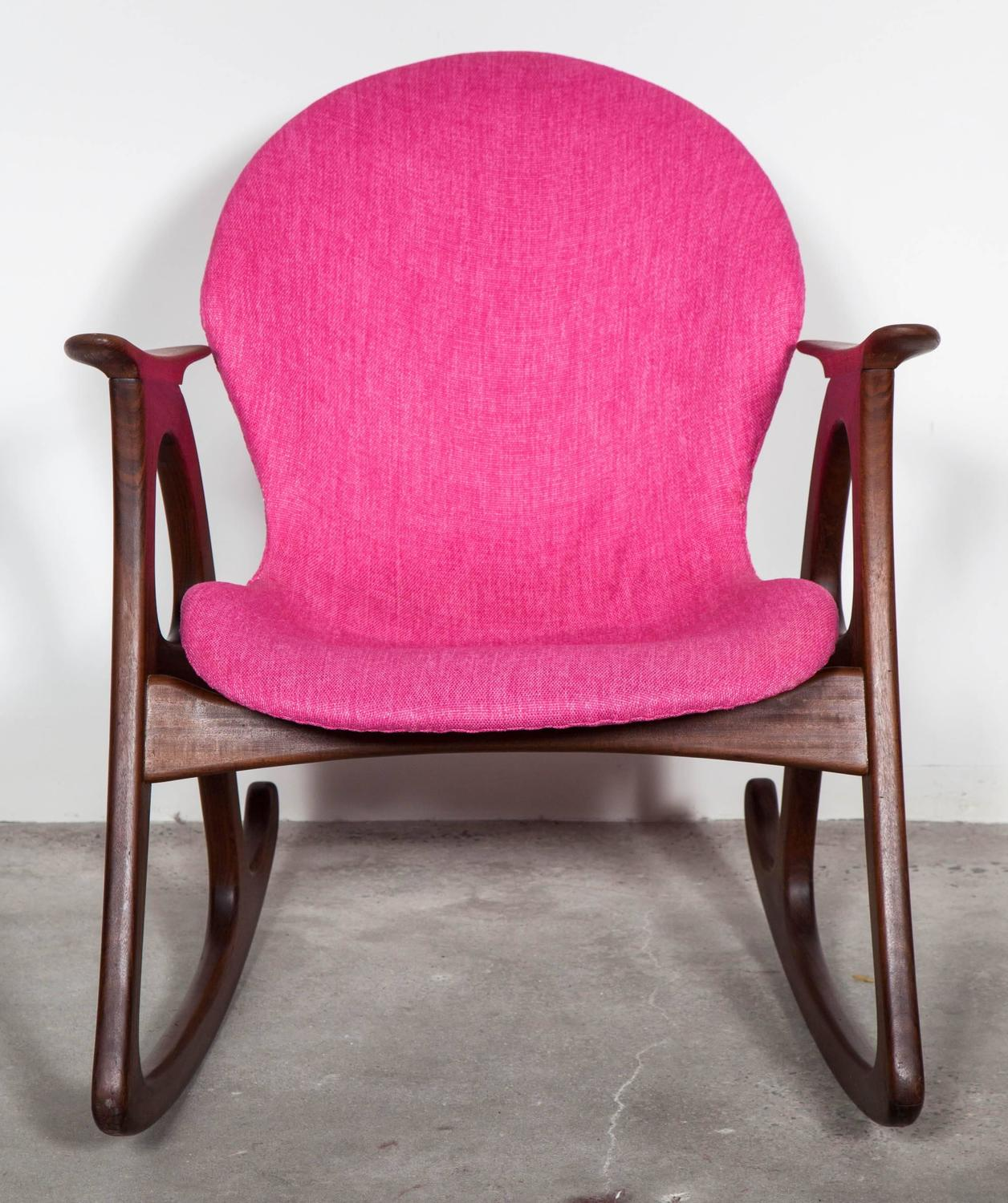 Teak Rocking Chair by Aage Christiansen, Pink at 1stdibs