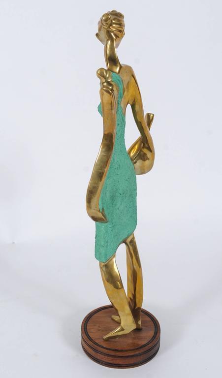 Brass Art Deco Female Figurine in the Style of Werkstätte Hagenauer  For Sale